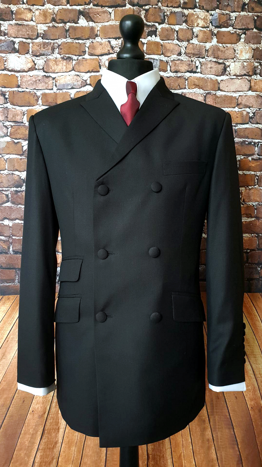 """Parton"" Deepest Black Double Breasted Suit"